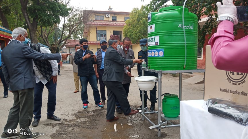 The contactless water station at Metro Police Range, Lalitpur. Image: Supplied