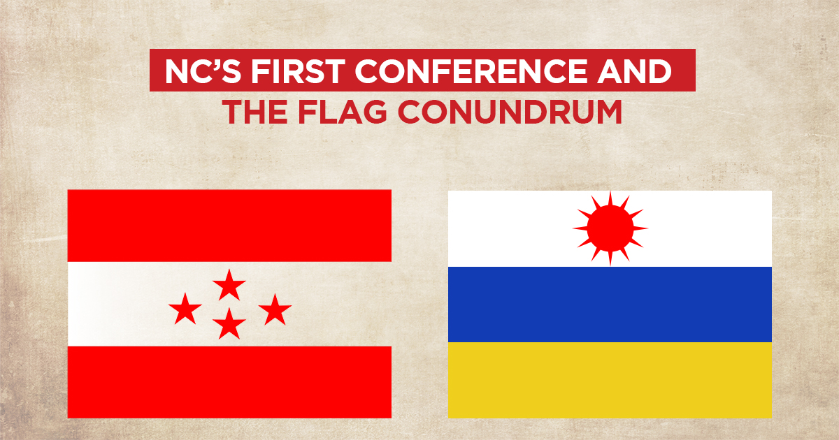 The left flag (currently the flag of Nepali Congress) was of Nepal Democratic Congress, the right flag (suggestive image) was of Rastriya Congress. The conference of 1950 AD adopted the flag of Democratic Congress as their own.