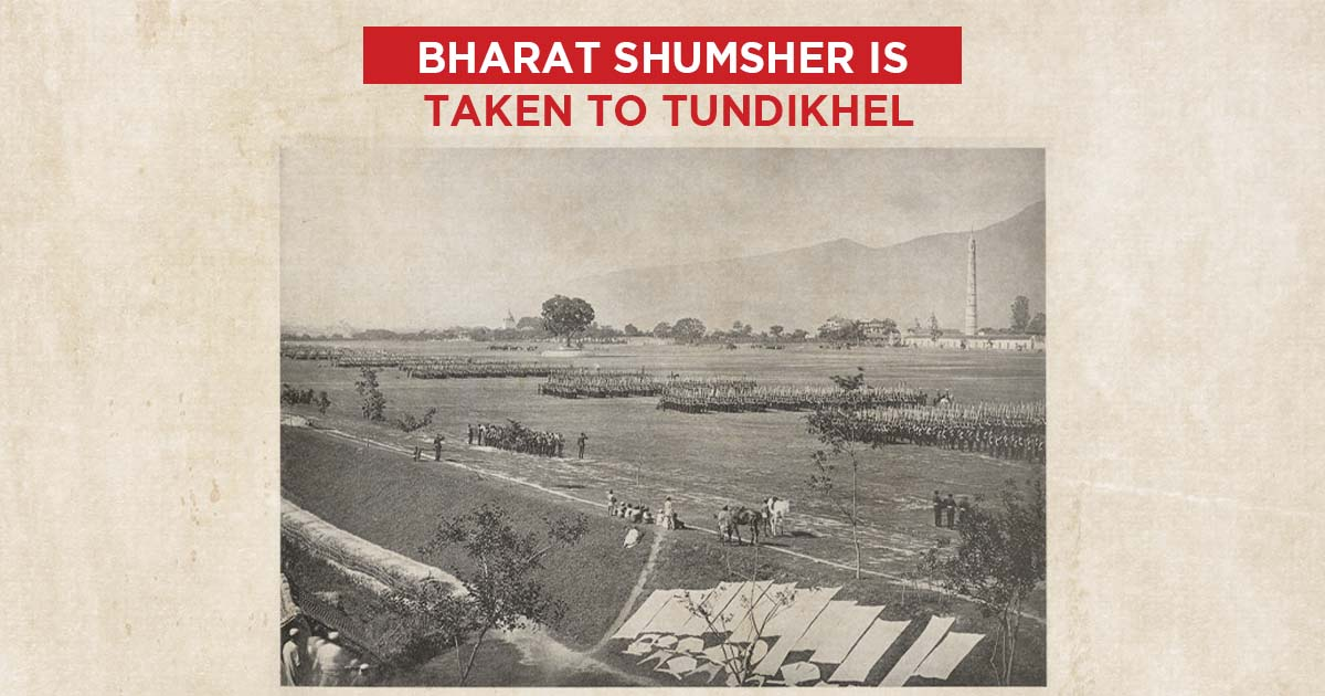 A parade being held at Tundikhel in1883 AD during the rule of Ranoddip Singh Rana (Nepal Picture Library)
